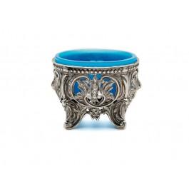 Silbergestell mut Glaseinsatz in blau